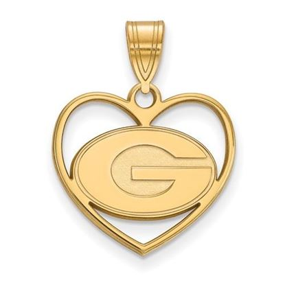 Picture of University of Georgia Bulldogs Sterling Silver Gold Plated Heart Pendant