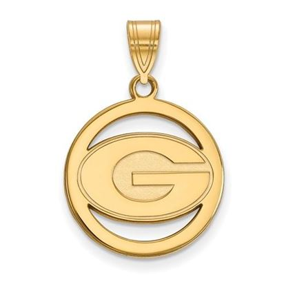 Picture of University of Georgia Bulldogs Sterling Silver Gold Plated Small Circle Pendant