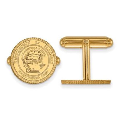 Picture of University of Illinois Fighting Illini Sterling Silver Gold Plated Crest Cuff Links
