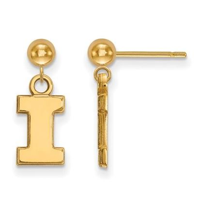 Picture of University of Illinois Fighting Illini Sterling Silver Gold Plated Dangle Earrings