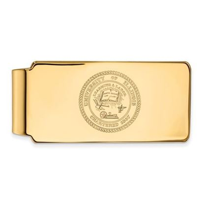 Picture of University of Illinois Fighting Illini Sterling Silver Gold Plated Crest Money Clip