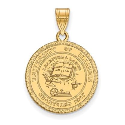 Picture of University of Illinois Fighting Illini Sterling Silver Gold Plated Large Crest Pendant