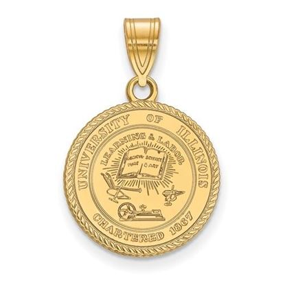 Picture of University of Illinois Fighting Illini Sterling Silver Gold Plated Medium Crest Pendant