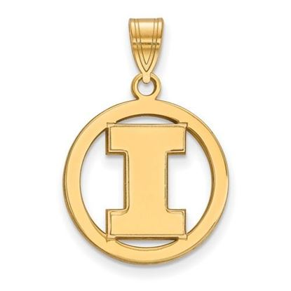 Picture of University of Illinois Fighting Illini Sterling Silver Gold Plated Small Circle Pendant