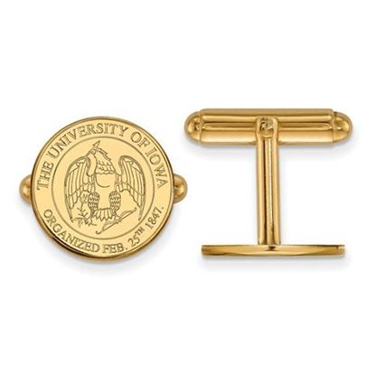 Picture of University of Iowa Hawkeyes Sterling Silver Gold Plated Crest Cuff Links
