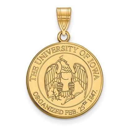 Picture of University of Iowa Hawkeyes Sterling Silver Gold Plated Large Crest Pendant