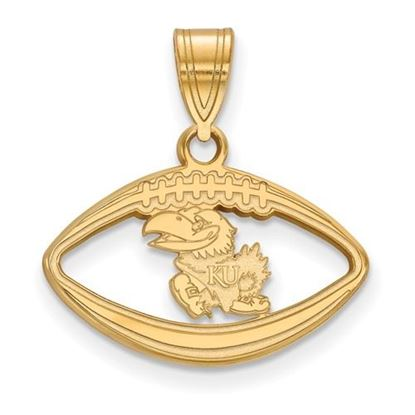 Picture of University of Kansas Jayhawks Sterling Silver Gold Plated Football Pendant