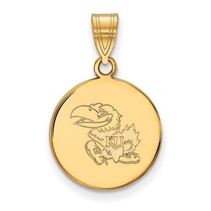 Picture of University of Kansas Jayhawks Sterling Silver Gold Plated Medium Disc Pendant