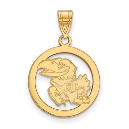 Picture of University of Kansas Jayhawks Sterling Silver Gold Plated Small Circle Pendant