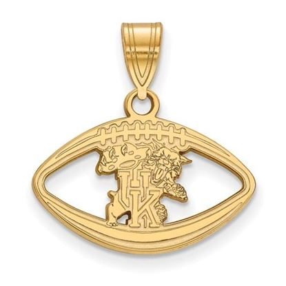 Picture of University of Kentucky Wildcats Sterling Silver Gold Plated Football Pendant