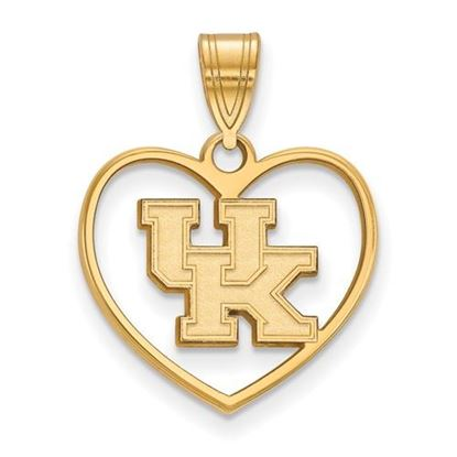 Picture of University of Kentucky Wildcats Sterling Silver Gold Plated Heart Pendant