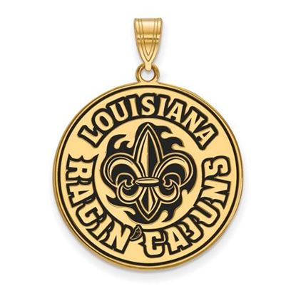 Picture of University of Louisiana at Lafayette Ragin' Cajuns Sterling Silver Gold Plated Extra Large Enameled Pendant