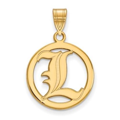 Picture of University of Louisville Cardinals Sterling Silver Gold Plated Small Circle Pendant