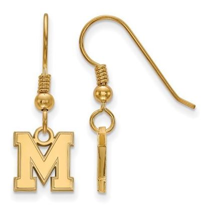 Picture of University of Memphis Tigers Sterling Silver Gold Plated Extra Small Dangle Earrings