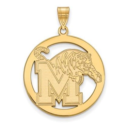 Picture of University of Memphis Tigers Sterling Silver Gold Plated Large Circle Pendant