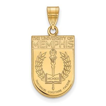 Picture of University of Memphis Tigers Sterling Silver Gold Plated Large Crest Pendant