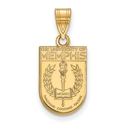 Picture of University of Memphis Tigers Sterling Silver Gold Plated Medium Crest Pendant