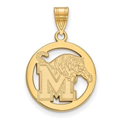Picture of University of Memphis Tigers Sterling Silver Gold Plated Small Circle Pendant