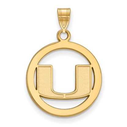 Picture of University of Miami Hurricanes Sterling Silver Gold Plated Small Circle Pendant