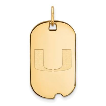 Picture of University of Miami Hurricanes Sterling Silver Gold Plated Small Dog Tag