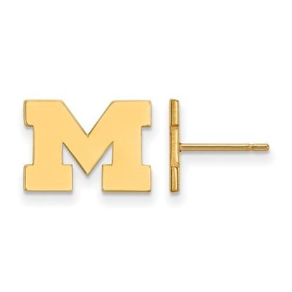 Picture of University of Michigan Wolverines Sterling Silver Gold Plated Extra Small Post Earrings
