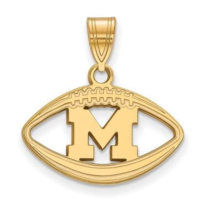 Picture of University of Michigan Wolverines Sterling Silver Gold Plated Football Pendant