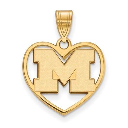 Picture of University of Michigan Wolverines Sterling Silver Gold Plated Heart Pendant