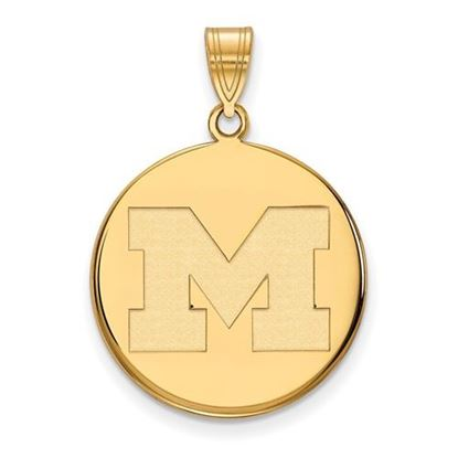 Picture of University of Michigan Wolverines Sterling Silver Gold Plated Large Disc Pendant