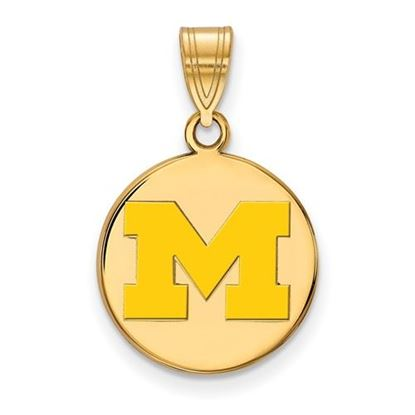 Picture of University of Michigan Wolverines Sterling Silver Gold Plated Medium Enameled Disc Pendant