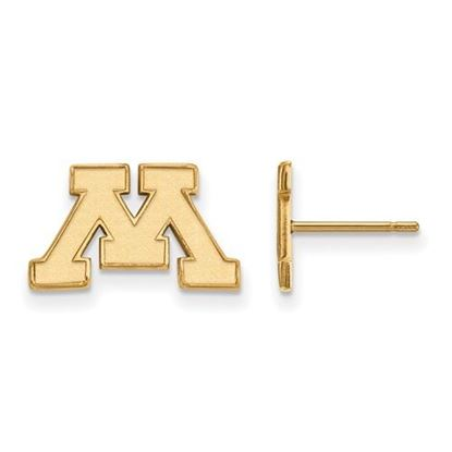 Picture of University of Minnesota Golden Gophers Sterling Silver Gold Plated Extra Small Post Earrings