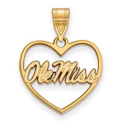 Picture of University of Mississippi Rebels Sterling Silver Gold Plated Heart Pendant