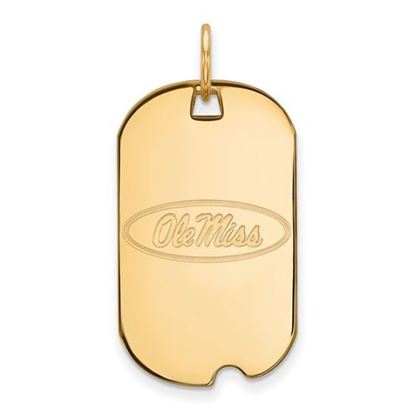 Picture of University of Mississippi Rebels Sterling Silver Gold Plated Small Dog Tag