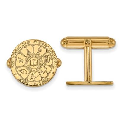 Picture of University of Nebraska Cornhuskers Sterling Silver Gold Plated Crest Cuff Links