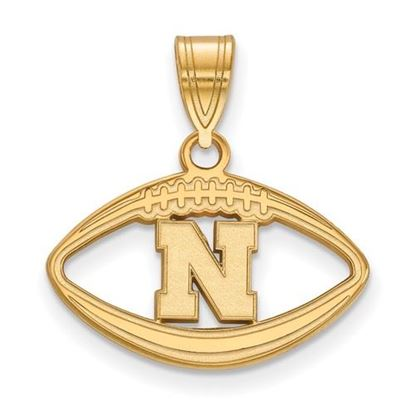 Picture of University of Nebraska Cornhuskers Sterling Silver Gold Plated Football Pendant