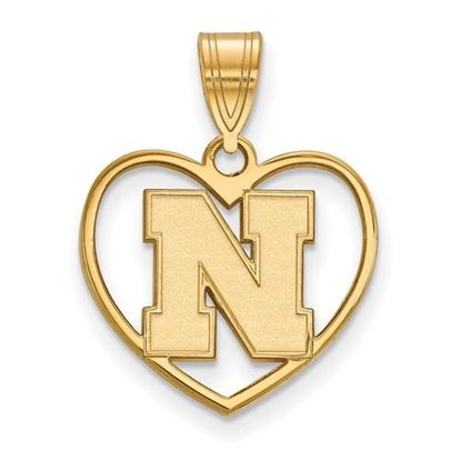Picture of University of Nebraska Cornhuskers Sterling Silver Gold Plated Heart Pendant