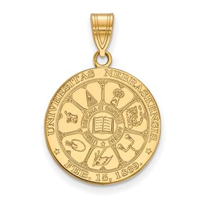 Picture of University of Nebraska Cornhuskers Sterling Silver Gold Plated Large Crest Pendant