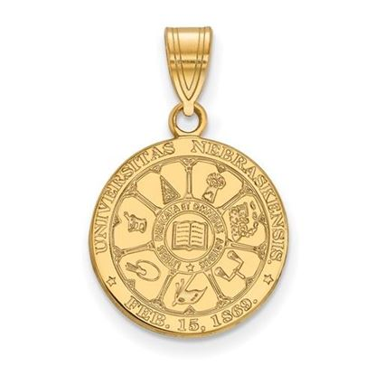 Picture of University of Nebraska Cornhuskers Sterling Silver Gold Plated Medium Crest Pendant