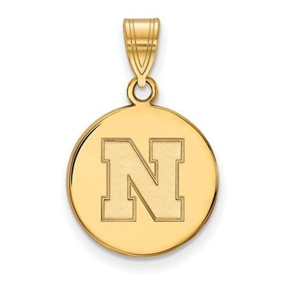 Picture of University of Nebraska Cornhuskers Sterling Silver Gold Plated Medium Disc Pendant