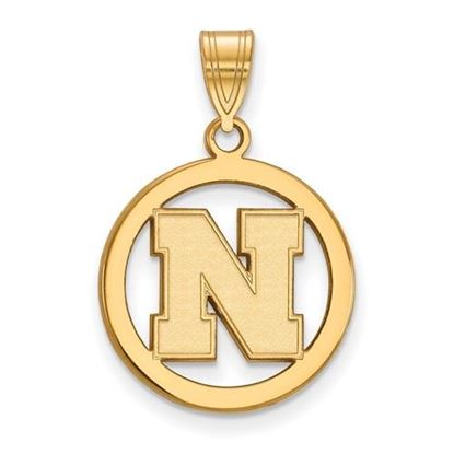 Picture of University of Nebraska Cornhuskers Sterling Silver Gold Plated Small Circle Pendant