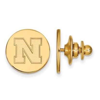 Picture of University of Nebraska Cornhuskers Sterling Silver Gold Plated Disc Lapel Pin
