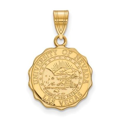 Picture of University of Nevada Las Vegas Rebels Sterling Silver Gold Plated Medium Crest Pendant