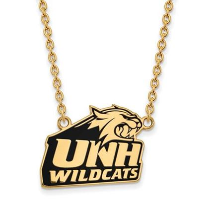 Picture of University of New Hampshire Wildcats Sterling Silver Gold Plated Large Enameled Necklace