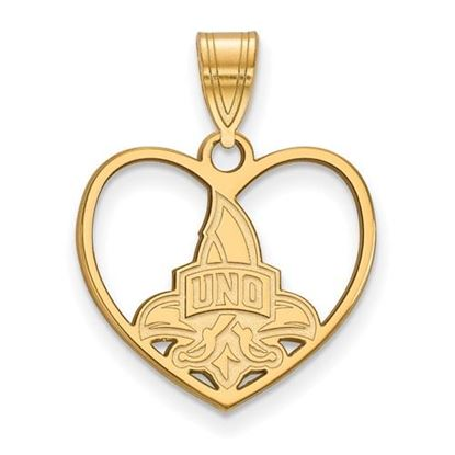 Picture of University of New Orleans Privateers Sterling Silver Gold Plated Heart Pendant