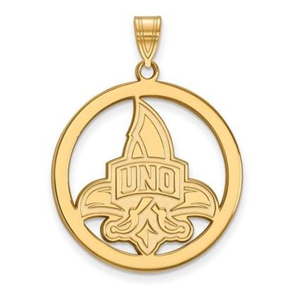 Picture of University of New Orleans Privateers Sterling Silver Gold Plated Large Circle Pendant