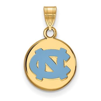 Picture of University of North Carolina Tar Heels Sterling Silver Gold Plated Small Enameled Disc Pendant