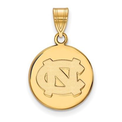 Picture of University of North Carolina Tar Heels Sterling Silver Gold Plated Medium Disc Pendant