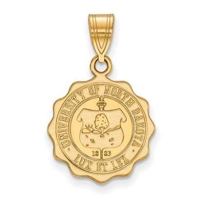Picture of University of North Dakota Fighting Hawks Sterling Silver Gold Plated Medium Crest Pendant