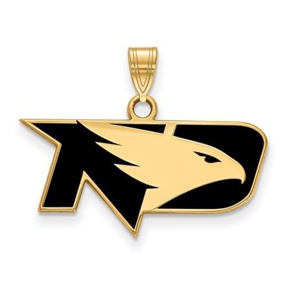 Picture of University of North Dakota Fighting Hawks Sterling Silver Gold Plated Small Enameled Pendant