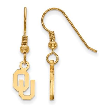 Picture of University of Oklahoma Sooners Sterling Silver Gold Plated Extra Small Dangle Earrings