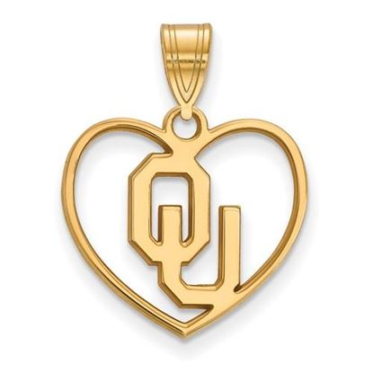 Picture of University of Oklahoma Sooners Sterling Silver Gold Plated Heart Pendant